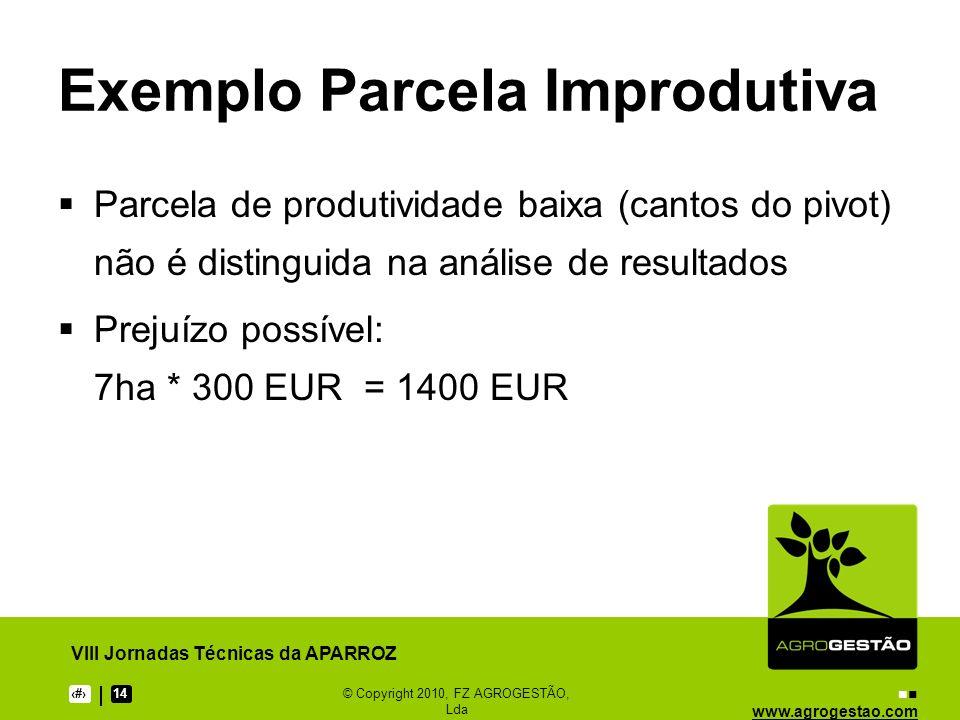 www.agrogestao.com VIII Jornadas Técnicas da APARROZ 514© Copyright 2010, FZ AGROGESTÃO, Lda Exemplo Parcela Improdutiva Parcela de produtividade baix