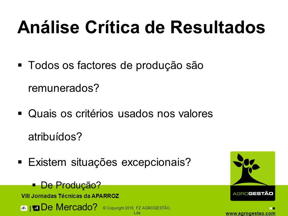 www.agrogestao.com VIII Jornadas Técnicas da APARROZ 914© Copyright 2010, FZ AGROGESTÃO, Lda Análise Crítica de Resultados Todos os factores de produç