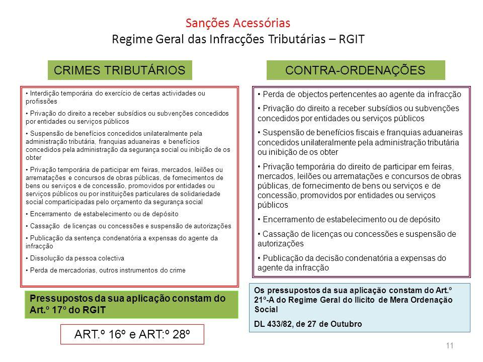 Sanções Acessórias Regime Geral das Infracções Tributárias – RGIT CRIMES TRIBUTÁRIOSCONTRA-ORDENAÇÕES Interdição temporária do exercício de certas act