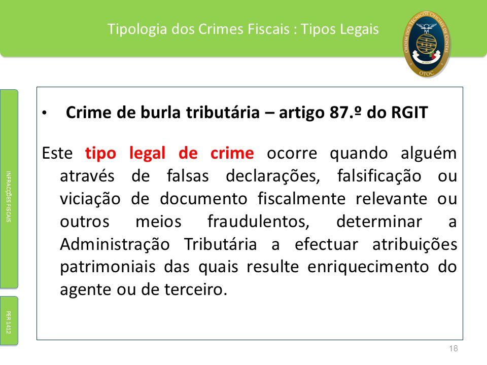 Tipologia dos Crimes Fiscais : Tipos Legais Crime de burla tributária – artigo 87.º do RGIT Este tipo legal de crime ocorre quando alguém através de f