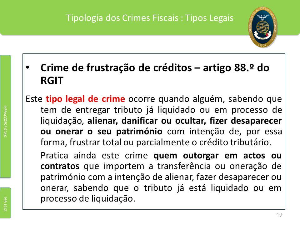 Tipologia dos Crimes Fiscais : Tipos Legais Crime de frustração de créditos – artigo 88.º do RGIT Este tipo legal de crime ocorre quando alguém, saben