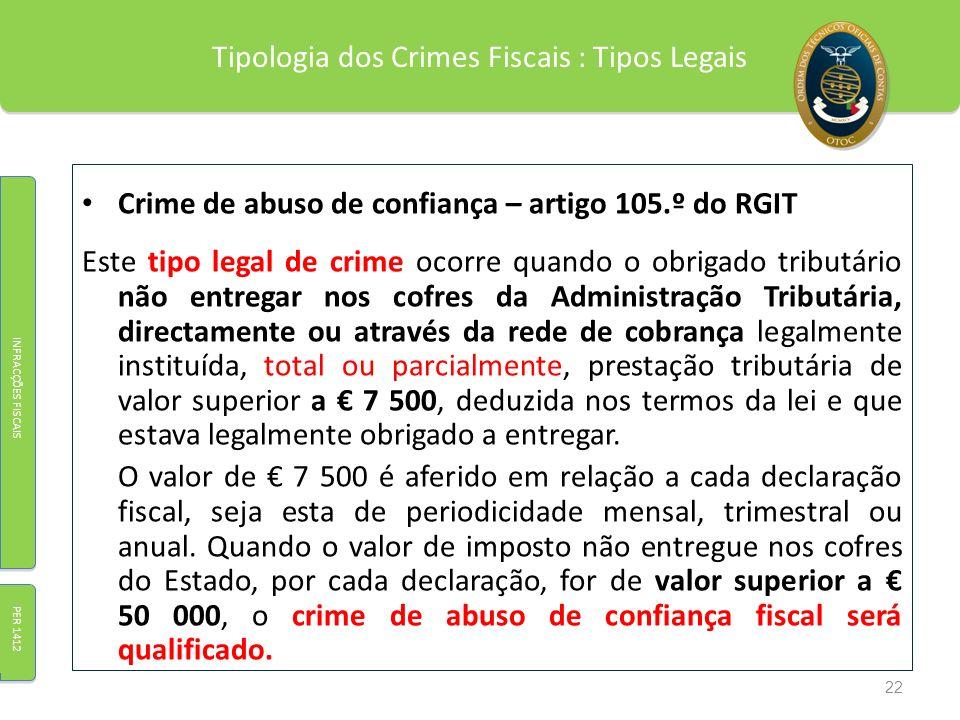 Tipologia dos Crimes Fiscais : Tipos Legais Crime de abuso de confiança – artigo 105.º do RGIT Este tipo legal de crime ocorre quando o obrigado tribu
