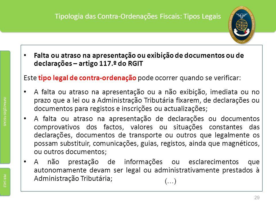 Tipologia das Contra-Ordenações Fiscais: Tipos Legais Falta ou atraso na apresentação ou exibição de documentos ou de declarações – artigo 117.º do RG