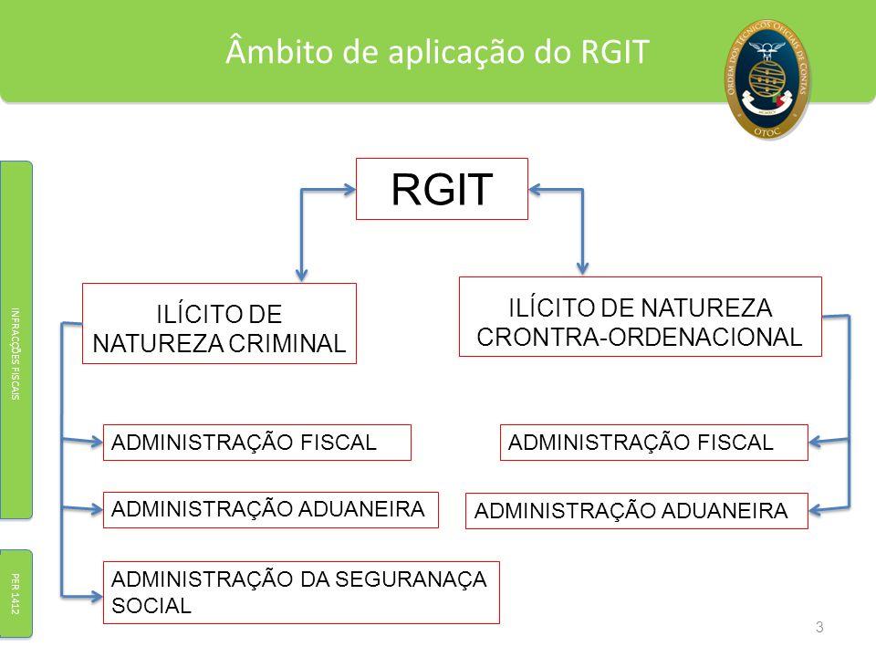 Âmbito de aplicação do RGIT INFRACÇÕES FISCAIS PER 1412 RGIT ILÍCITO DE NATUREZA CRIMINAL ILÍCITO DE NATUREZA CRONTRA-ORDENACIONAL ADMINISTRAÇÃO FISCA