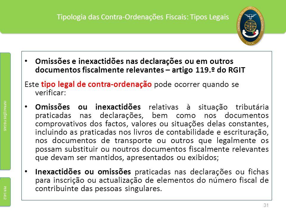 Tipologia das Contra-Ordenações Fiscais: Tipos Legais Omissões e inexactidões nas declarações ou em outros documentos fiscalmente relevantes – artigo