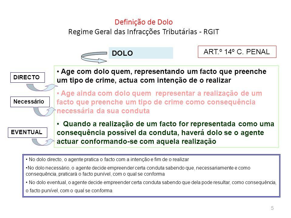 Definição de Dolo Regime Geral das Infracções Tributárias - RGIT DOLO Age com dolo quem, representando um facto que preenche um tipo de crime, actua c