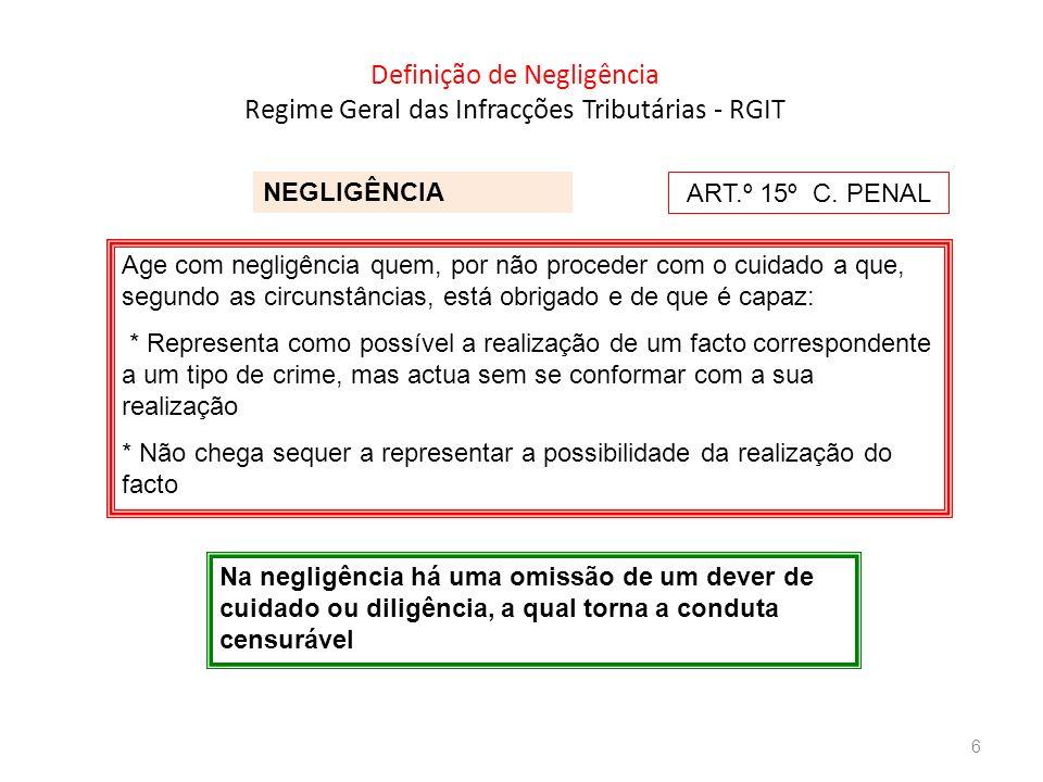 Definição de Negligência Regime Geral das Infracções Tributárias - RGIT NEGLIGÊNCIA Age com negligência quem, por não proceder com o cuidado a que, se