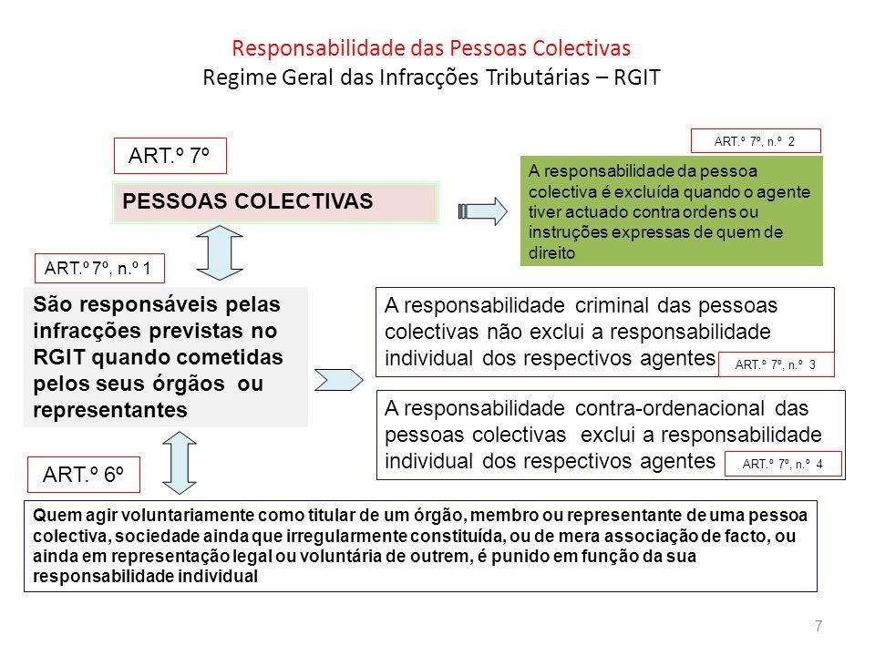 Responsabilidade das Pessoas Colectivas Regime Geral das Infracções Tributárias – RGIT PESSOAS COLECTIVAS São responsáveis pelas infracções previstas