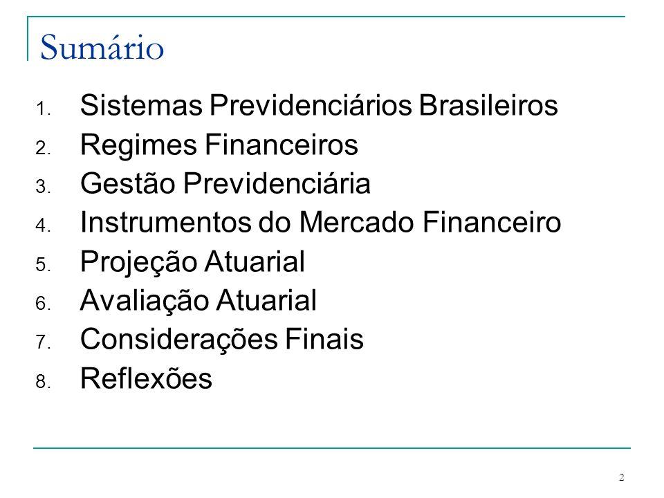 2 Sumário 1. Sistemas Previdenciários Brasileiros 2. Regimes Financeiros 3. Gestão Previdenciária 4. Instrumentos do Mercado Financeiro 5. Projeção At