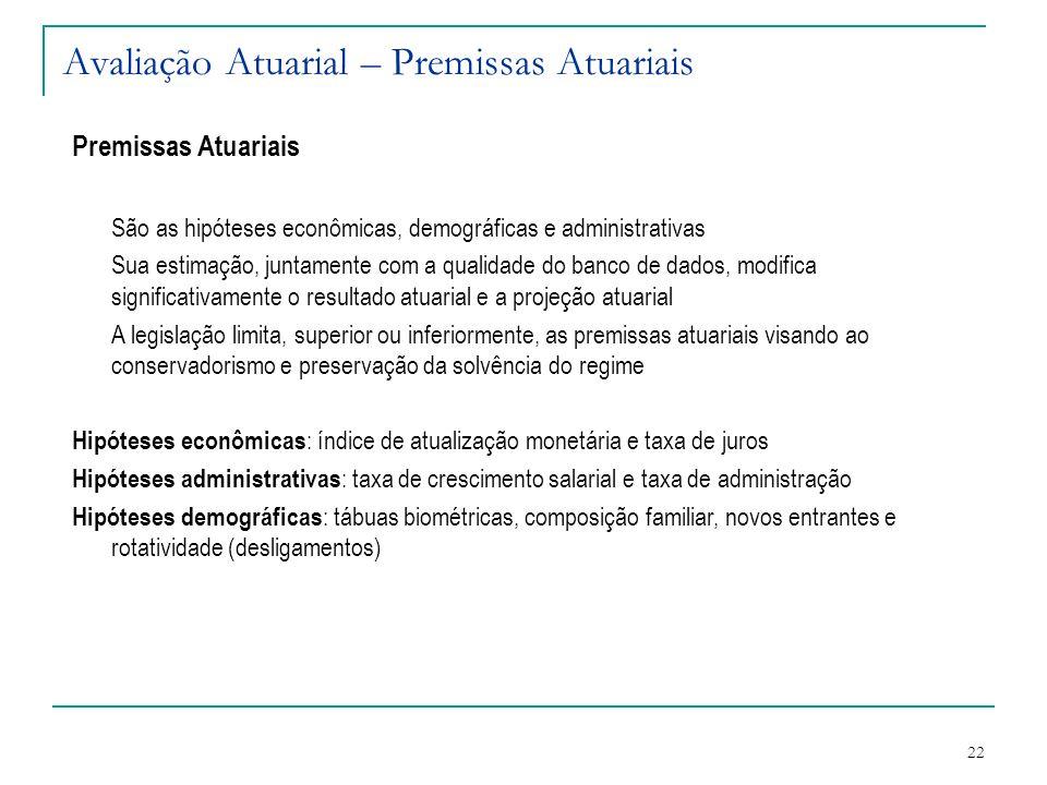22 Avaliação Atuarial – Premissas Atuariais Premissas Atuariais São as hipóteses econômicas, demográficas e administrativas Sua estimação, juntamente