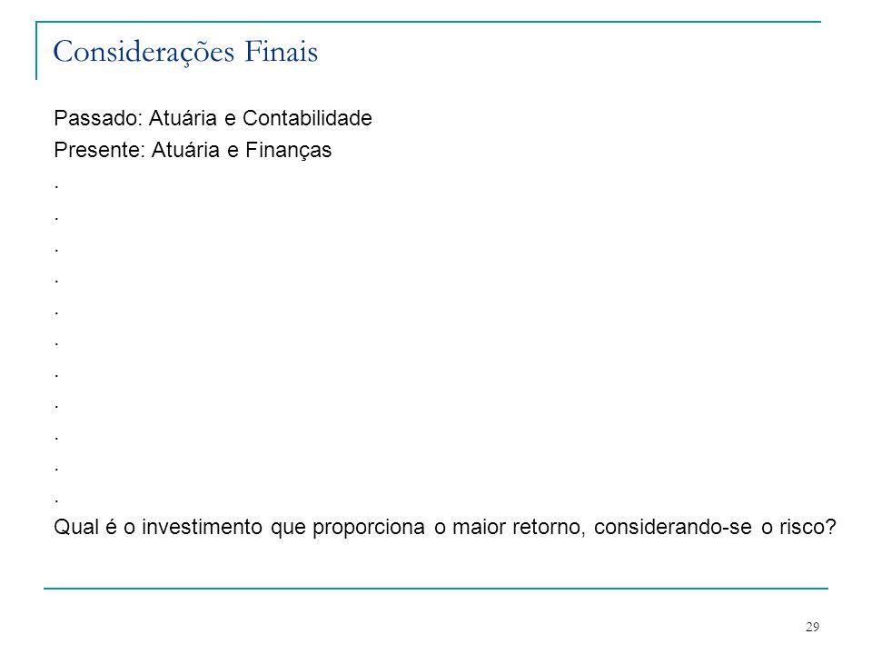 29 Considerações Finais Passado: Atuária e Contabilidade Presente: Atuária e Finanças. Qual é o investimento que proporciona o maior retorno, consider