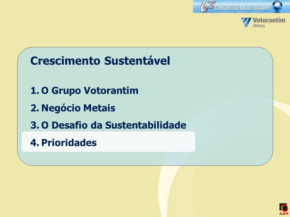 Crescimento Sustentável 1.O Grupo Votorantim 2.Negócio Metais 3.O Desafio da Sustentabilidade 4.Prioridades