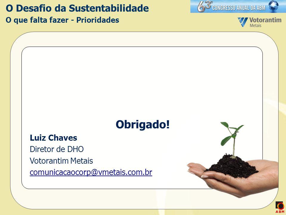 O Desafio da Sustentabilidade O que falta fazer - Prioridades Obrigado! Luiz Chaves Diretor de DHO Votorantim Metais comunicacaocorp@vmetais.com.br
