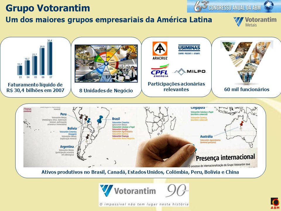 Grupo Votorantim Um dos maiores grupos empresariais da América Latina 8 Unidades de Negócio 60 mil funcionários Ativos produtivos no Brasil, Canadá, E