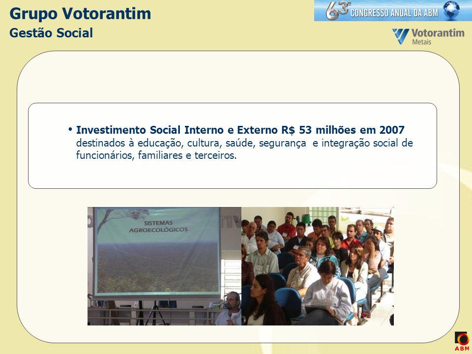 Grupo Votorantim Gestão Social Investimento Social Interno e Externo R$ 53 milhões em 2007 destinados à educação, cultura, saúde, segurança e integraç