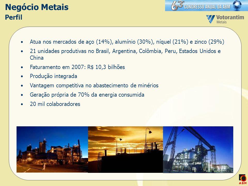 Atua nos mercados de aço (14%), alumínio (30%), níquel (21%) e zinco (29%) 21 unidades produtivas no Brasil, Argentina, Colômbia, Peru, Estados Unidos