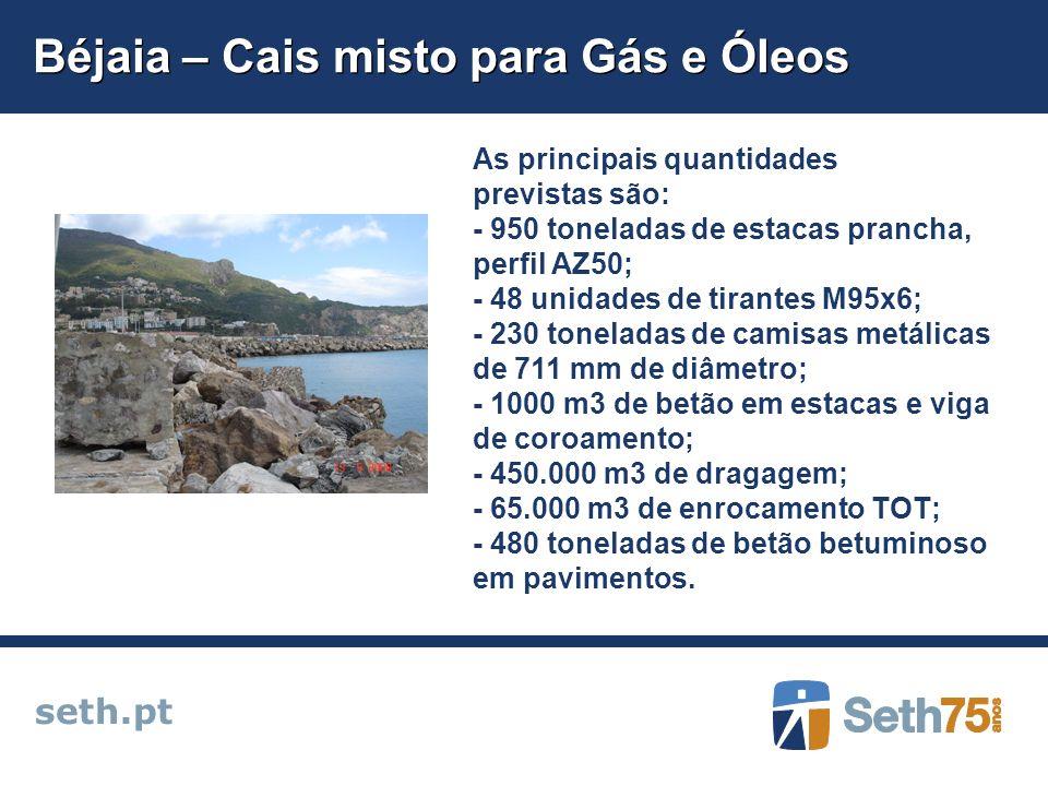 Béjaia – Cais misto para Gás e Óleos seth.pt As principais quantidades previstas são: - 950 toneladas de estacas prancha, perfil AZ50; - 48 unidades d