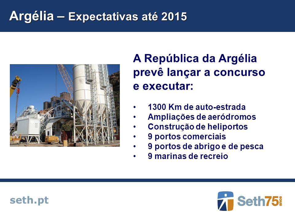 Argélia – Expectativas até 2015 seth.pt A República da Argélia prevê lançar a concurso e executar: 1300 Km de auto-estrada Ampliações de aeródromos Co