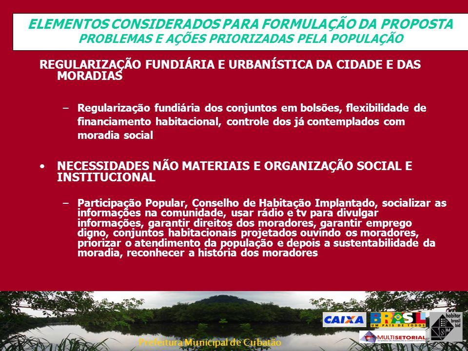 Prefeitura Municipal de Cubatão REGULARIZAÇÃO FUNDIÁRIA E URBANÍSTICA DA CIDADE E DAS MORADIAS –Regularização fundiária dos conjuntos em bolsões, flex