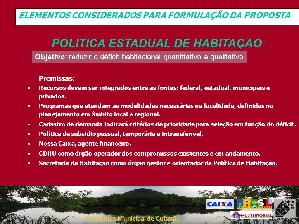 Prefeitura Municipal de Cubatão ELEMENTOS CONSIDERADOS PARA FORMULAÇÃO DA PROPOSTA Objetivo: reduzir o déficit habitacional quantitativo e qualitativo