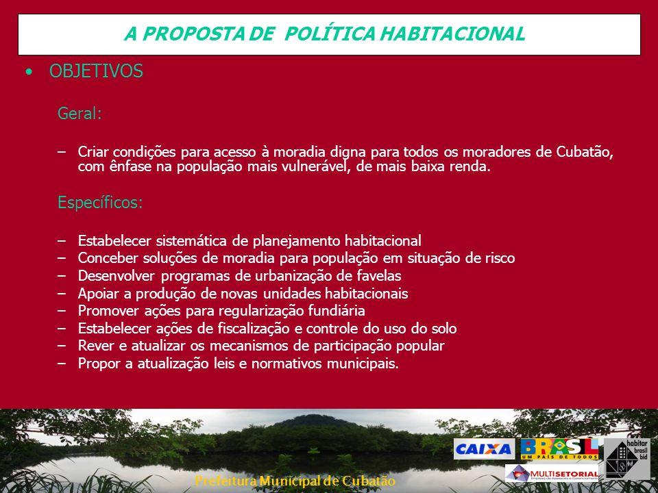 Prefeitura Municipal de Cubatão OBJETIVOS Geral: –Criar condições para acesso à moradia digna para todos os moradores de Cubatão, com ênfase na popula