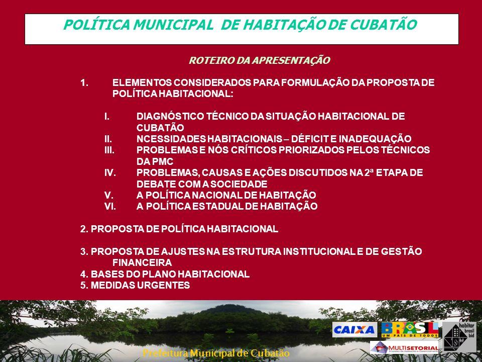 Prefeitura Municipal de Cubatão A PROPOSTA DE POLÍTICA HABITACIONAL AÇÕES CORRETIVAS Problemas e Causas Mapeadas nas Oficinas Técnica e Encontro com População Propostas de Solução/ Ações e Programas Ações para viabilizarRespons/ parceiros Falta de Urbanização das áreas periféricas dentro das normas Falta saneamento básico e urbanização nas áreas ocupadas Falta Infra-estrutura urbana e social para a maioria das moradias Falta projetos de urbanização das favelas onde estão Falta Alternativas de moradia que não seja a remoção para prédios Falta moradia para todos Falta planejamento e viabilidade de construção em área com segurança Parte das moradias ocupam áreas de risco Baixa renda da Populaçã oAlto Custo para Construção verticalizada (solo) População assume os riscos da moradia irregular Custo elevado das soluções habitacionais Projetos habitacionais ruins 4.