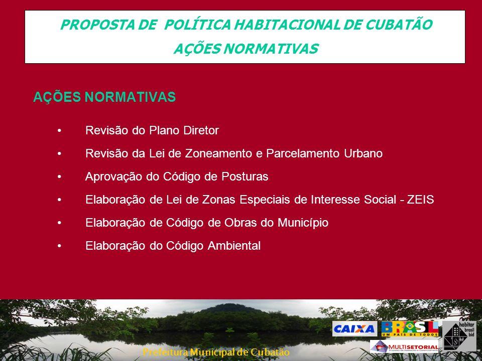 Prefeitura Municipal de Cubatão AÇÕES NORMATIVAS Revisão do Plano Diretor Revisão da Lei de Zoneamento e Parcelamento Urbano Aprovação do Código de Po