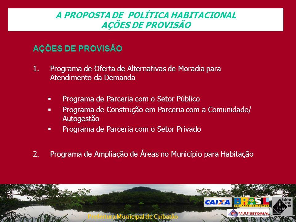Prefeitura Municipal de Cubatão A PROPOSTA DE POLÍTICA HABITACIONAL AÇÕES DE PROVISÃO 1.Programa de Oferta de Alternativas de Moradia para Atendimento