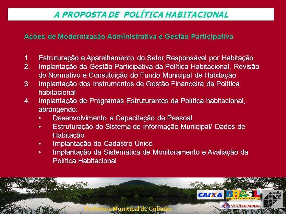 Prefeitura Municipal de Cubatão A PROPOSTA DE POLÍTICA HABITACIONAL Ações de Modernização Administrativa e Gestão Participativa 1.Estruturação e Apare