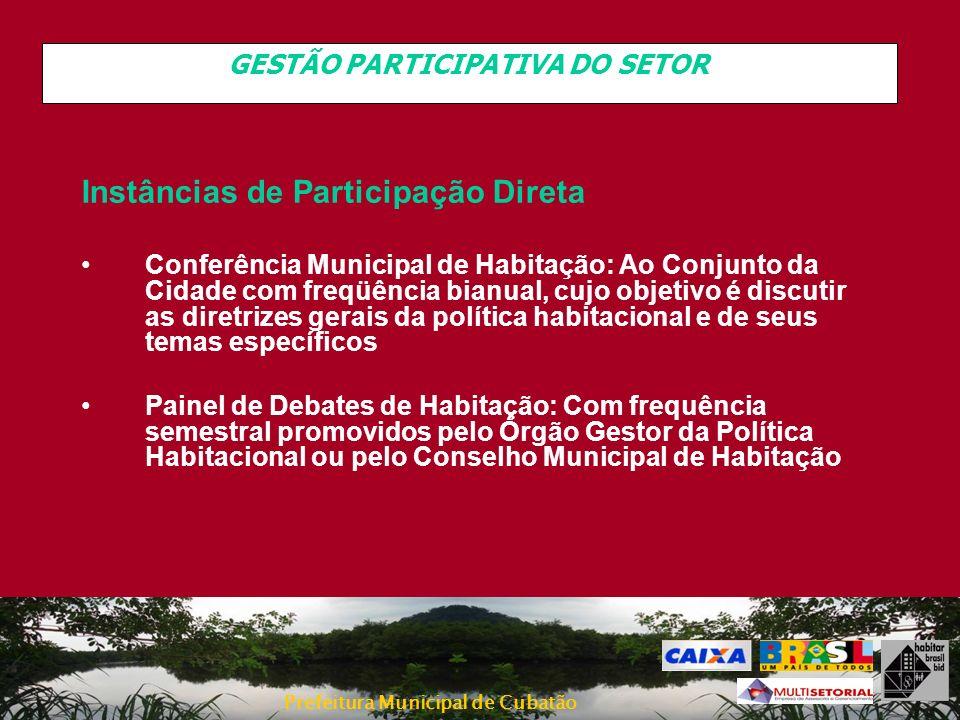 Prefeitura Municipal de Cubatão GESTÃO PARTICIPATIVA DO SETOR Instâncias de Participação Direta Conferência Municipal de Habitação: Ao Conjunto da Cid
