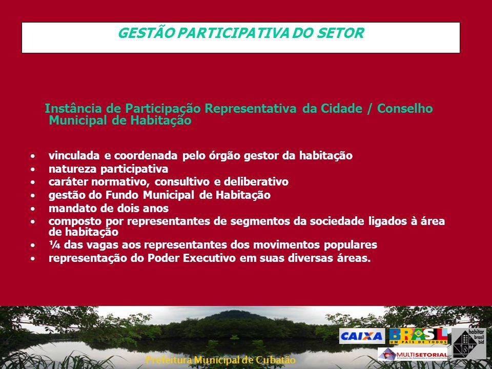 Prefeitura Municipal de Cubatão GESTÃO PARTICIPATIVA DO SETOR Instância de Participação Representativa da Cidade / Conselho Municipal de Habitação vin