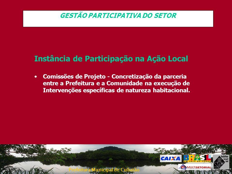 Prefeitura Municipal de Cubatão GESTÃO PARTICIPATIVA DO SETOR Instância de Participação na Ação Local Comissões de Projeto - Concretização da parceria