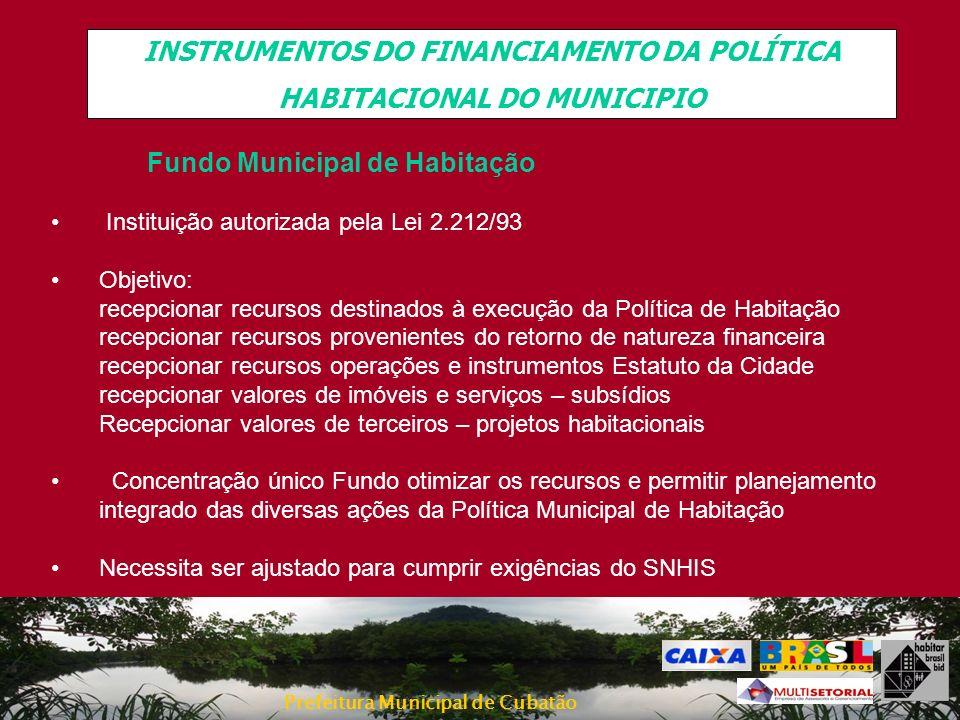 Prefeitura Municipal de Cubatão INSTRUMENTOS DO FINANCIAMENTO DA POLÍTICA HABITACIONAL DO MUNICIPIO Fundo Municipal de Habitação Instituição autorizad