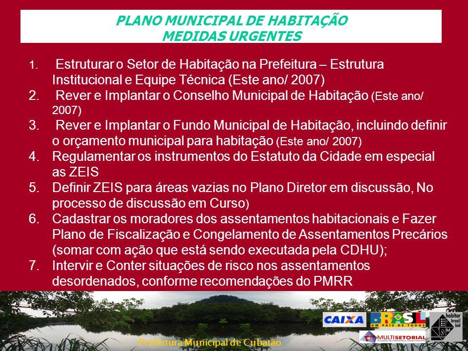 Prefeitura Municipal de Cubatão PLANO MUNICIPAL DE HABITAÇÃO MEDIDAS URGENTES 1. Estruturar o Setor de Habitação na Prefeitura – Estrutura Institucion