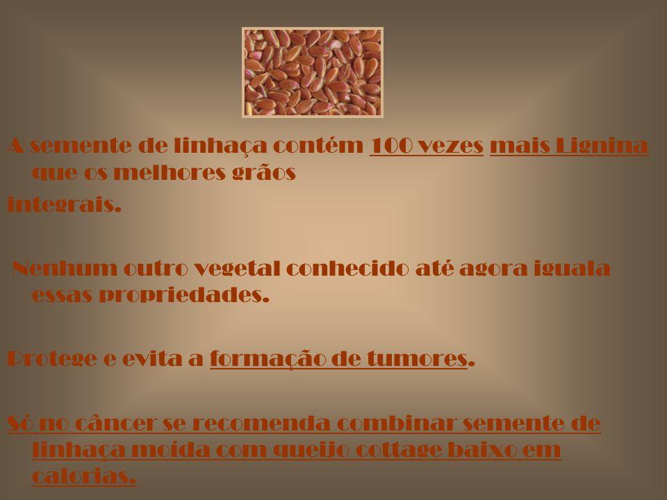 CÂNCER: de mama, de próstata, de colon, de pulmão, etc. A semente de linhaça contém 27 componentes anti- cancerígenos, um deles é ; a LIGNINA.