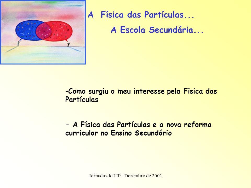 Jornadas do LIP - Dezembro de 2001 Física das Partículas e o novo currículo...