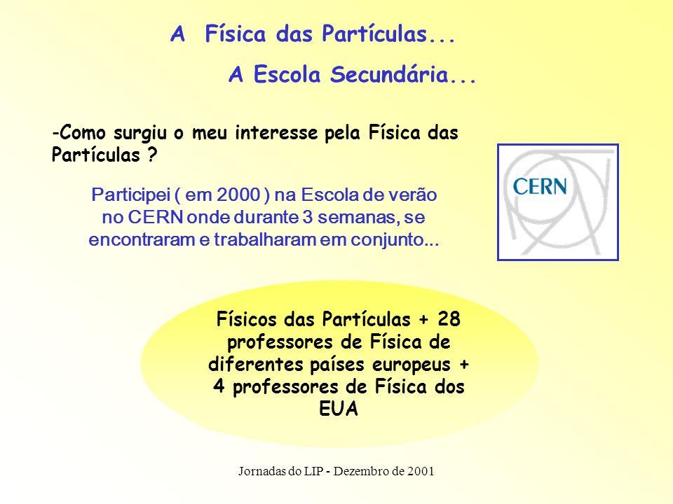 Jornadas do LIP - Dezembro de 2001 Participei ( em 2000 ) na Escola de verão no CERN onde durante 3 semanas, se encontraram e trabalharam em conjunto...
