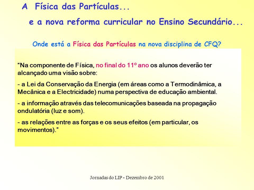 Jornadas do LIP - Dezembro de 2001 A Física das Partículas e o novo currículo...