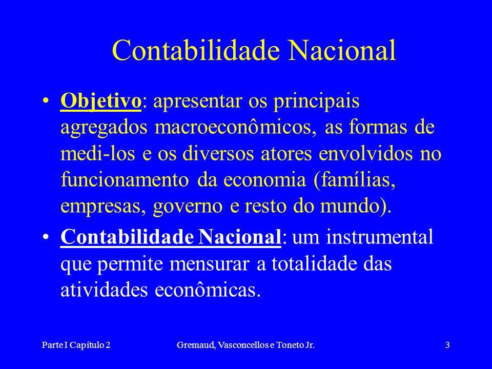 Parte I Capítulo 2Gremaud, Vasconcellos e Toneto Jr.3 Contabilidade Nacional Objetivo: apresentar os principais agregados macroeconômicos, as formas de medi-los e os diversos atores envolvidos no funcionamento da economia (famílias, empresas, governo e resto do mundo).