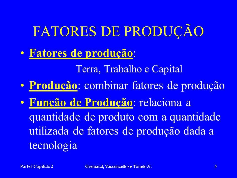 Parte I Capítulo 2Gremaud, Vasconcellos e Toneto Jr.5 FATORES DE PRODUÇÃO Fatores de produção: Terra, Trabalho e Capital Produção: combinar fatores de produção Função de Produção: relaciona a quantidade de produto com a quantidade utilizada de fatores de produção dada a tecnologia