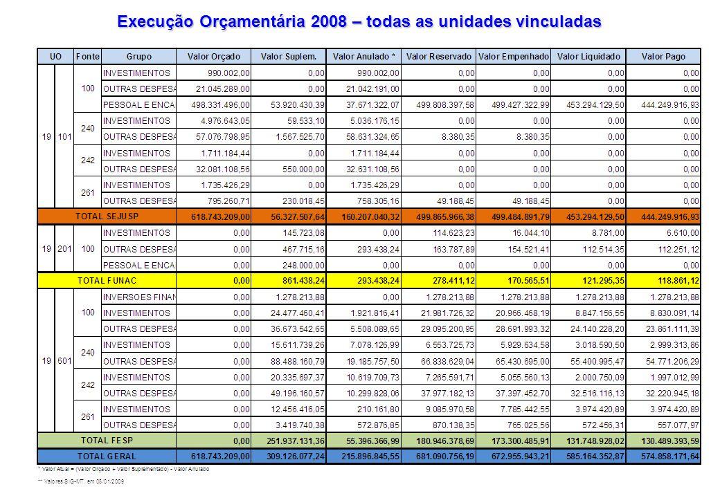 Resumo da Execução Orçamentária 2008 – todas as unidades vinculadas