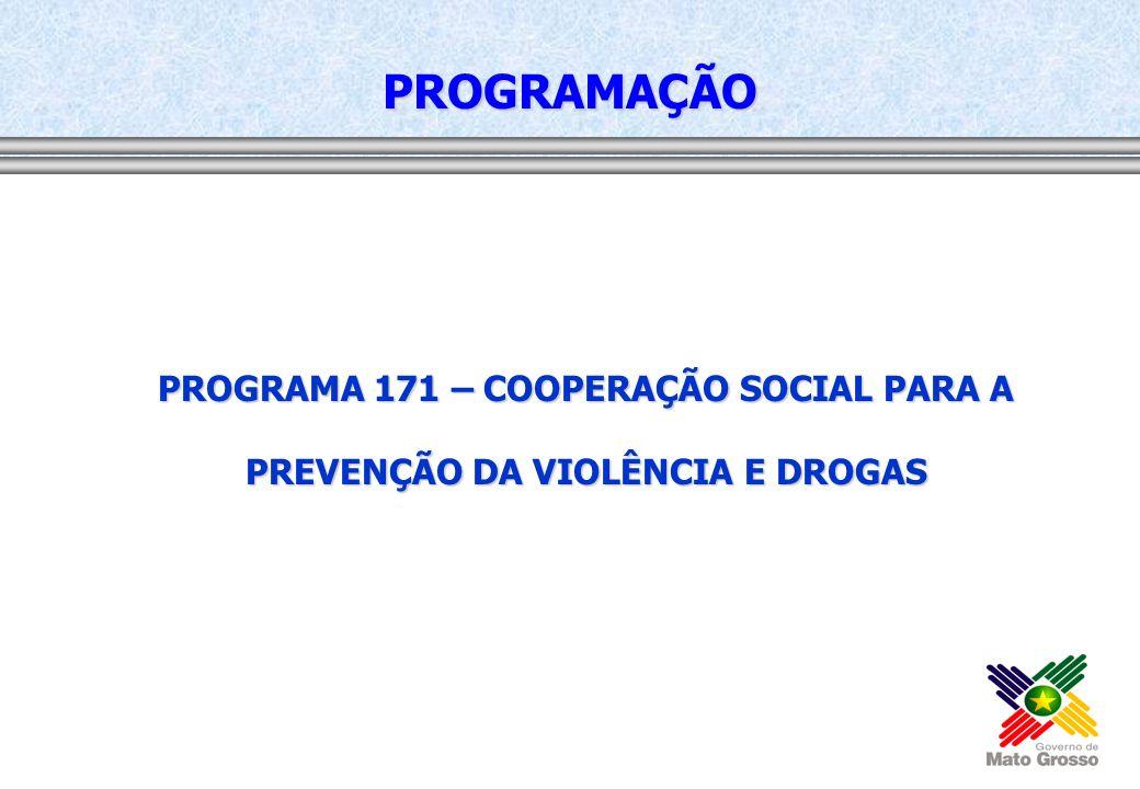 PROGRAMA 171 – COOPERAÇÃO SOCIAL PARA A PREVENÇÃO DA VIOLÊNCIA E DROGAS PROGRAMAÇÃO