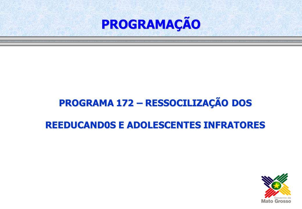 PROGRAMA 172 – RESSOCILIZAÇÃO DOS REEDUCAND0S E ADOLESCENTES INFRATORES PROGRAMAÇÃO