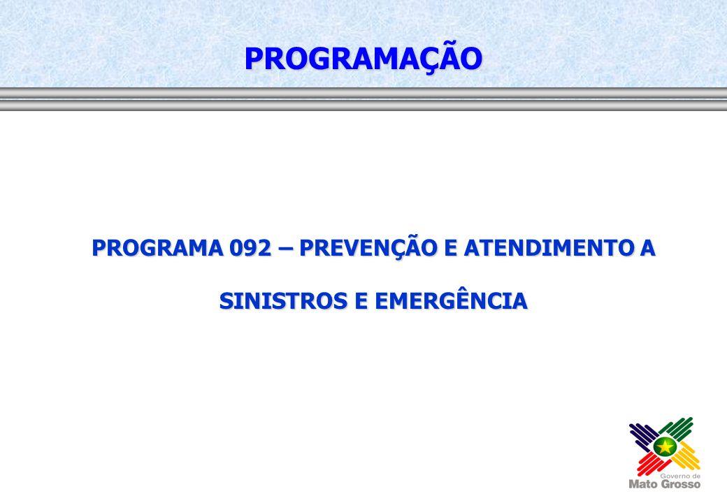 PROGRAMA 092 – PREVENÇÃO E ATENDIMENTO A SINISTROS E EMERGÊNCIA PROGRAMAÇÃO