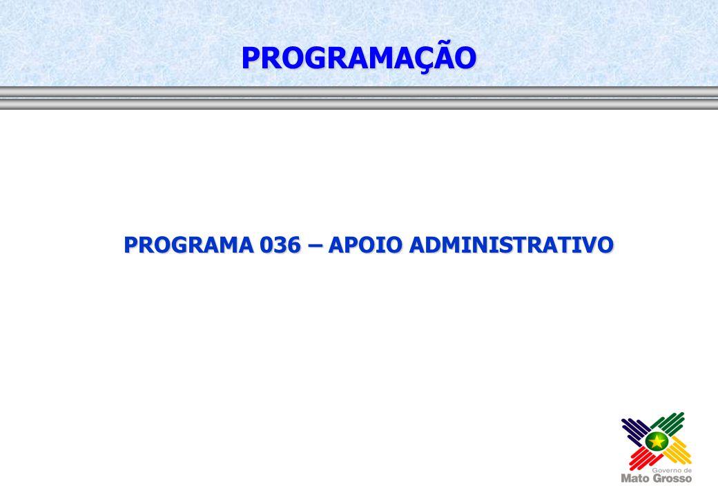 PROGRAMA 036 – APOIO ADMINISTRATIVO PROGRAMAÇÃO