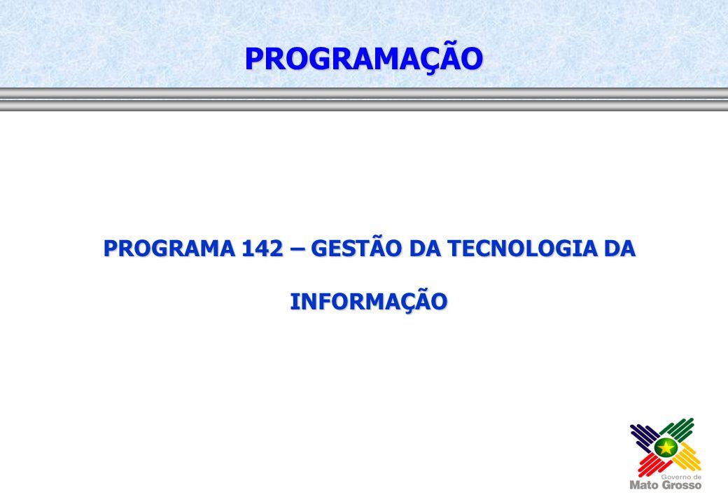 PROGRAMA 142 – GESTÃO DA TECNOLOGIA DA INFORMAÇÃO PROGRAMAÇÃO