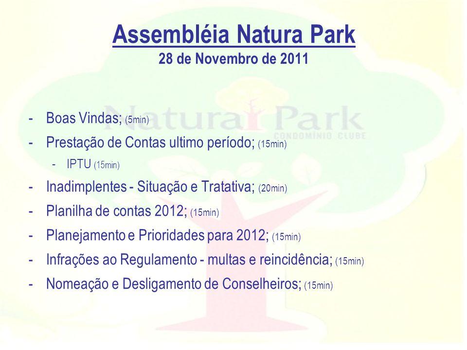 Assembléia Natura Park 28 de Novembro de 2011 -Boas Vindas; (5min) -Prestação de Contas ultimo período; (15min) -IPTU (15min) -Inadimplentes - Situaçã