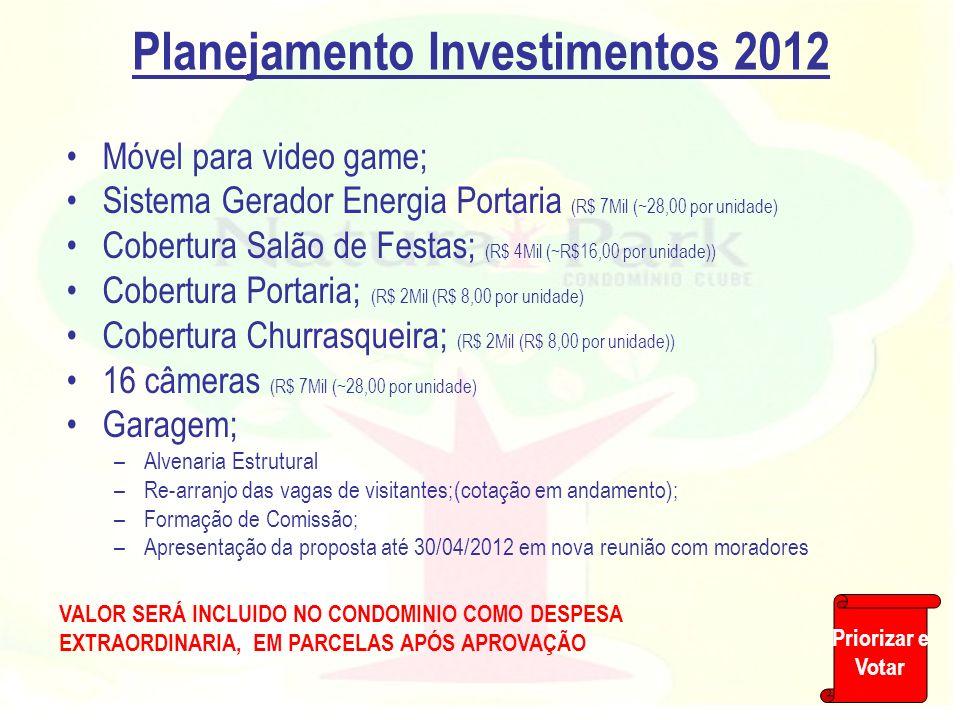 Planejamento Investimentos 2012 Móvel para video game; Sistema Gerador Energia Portaria (R$ 7Mil (~28,00 por unidade) Cobertura Salão de Festas; (R$ 4