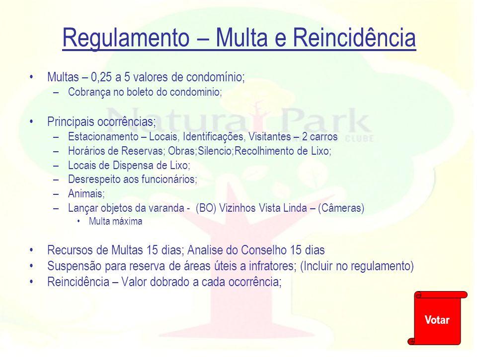 Regulamento – Multa e Reincidência Multas – 0,25 a 5 valores de condomínio; –Cobrança no boleto do condominio; Principais ocorrências; –Estacionamento