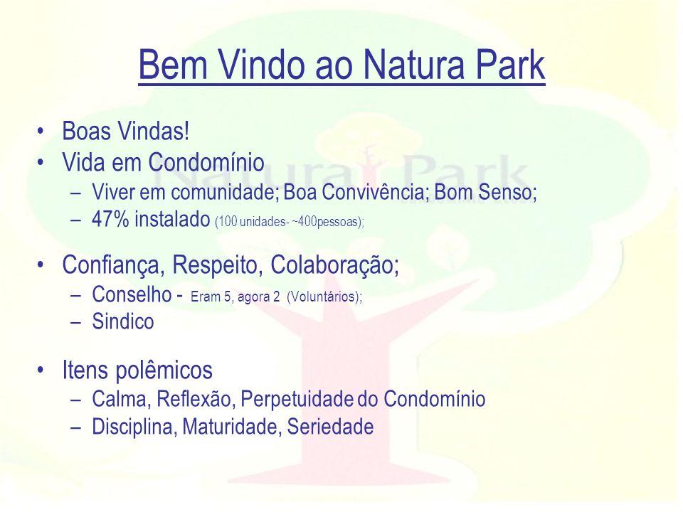 Bem Vindo ao Natura Park Boas Vindas! Vida em Condomínio –Viver em comunidade; Boa Convivência; Bom Senso; –47% instalado (100 unidades- ~400pessoas);